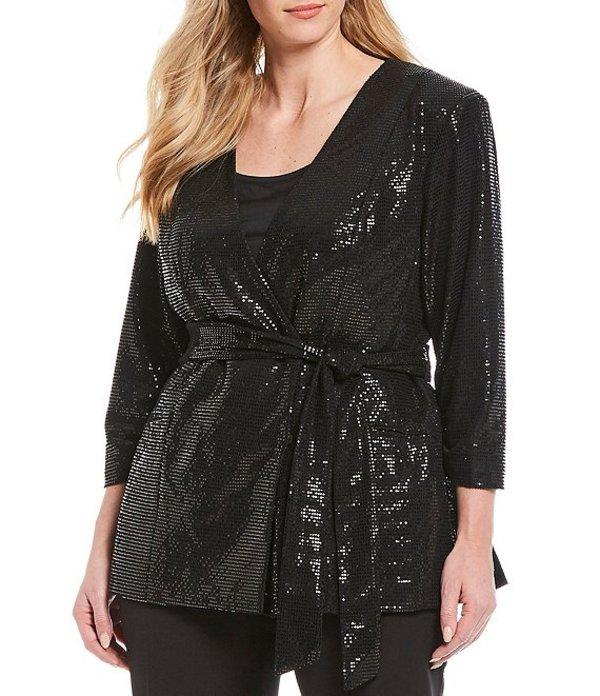 タハリエーエスエル レディース ジャケット・ブルゾン アウター Plus Size 3/4 Sleeve Allover Sequin Collarless Wrap Jacket Black