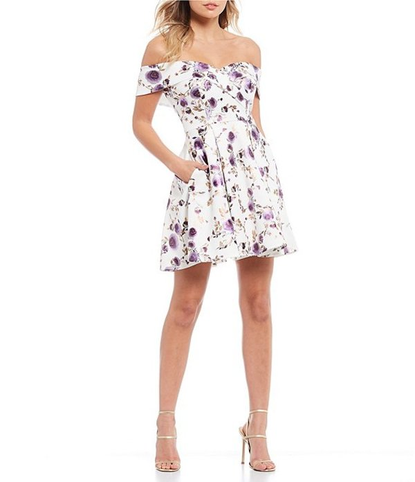 ビーダーリン レディース ワンピース トップス Off The Shoulder Foil Floral Fit-and-Flare Dress Off White/Purple