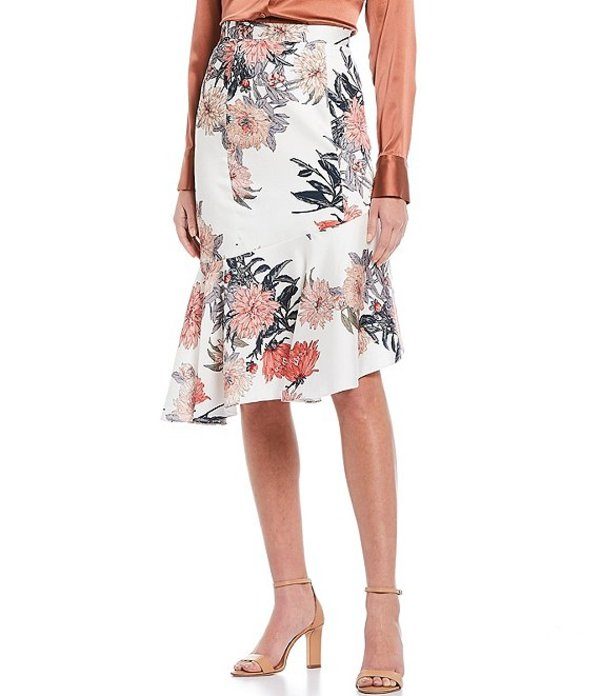 アントニオ メラーニ レディース スカート ボトムス Marie Flower Printed Drapey Satin Twill Flounce Hem Skirt Ivory/Cayenne
