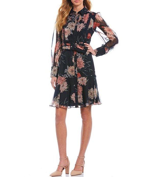 アントニオ メラーニ レディース ワンピース トップス Lena Floral Printed Chiffon Dress Navy/Ivory