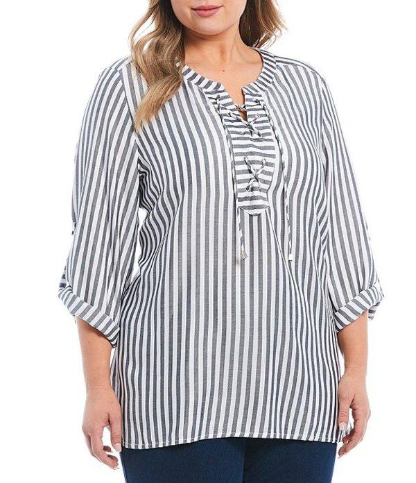 ルビーアールディー レディース シャツ トップス Plus Size Coastal Stripe 3/4 Roll-Tab Sleeve Rayon Twill Lace Up Top Black/Soft White