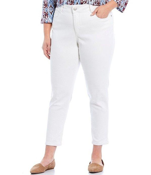 ルビーアールディー レディース カジュアルパンツ ボトムス Plus Size Flat Front Super Soft Stretch Denim Ankle Pants White