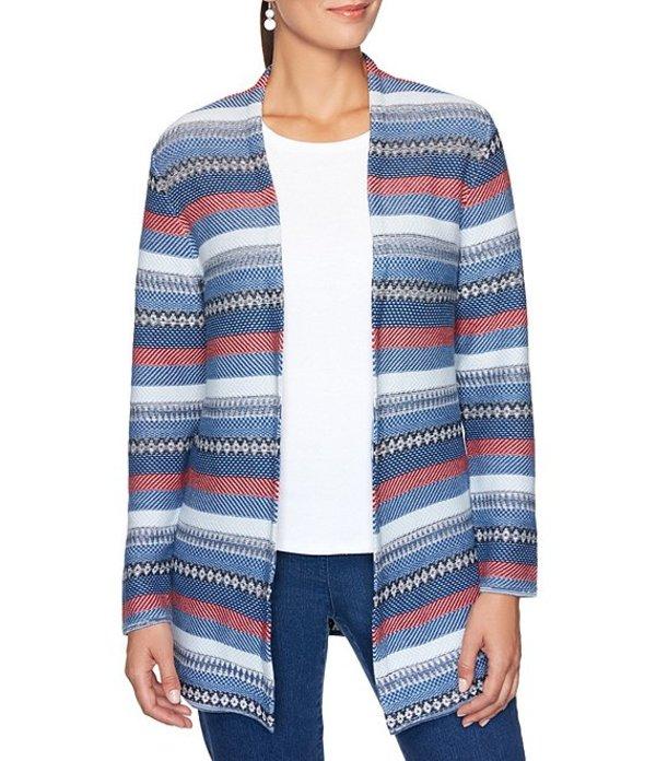 ルビーアールディー レディース カーディガン アウター Petite Size Stripe Jacquard Open-Front Long Cardigan Indigo Tie Dye