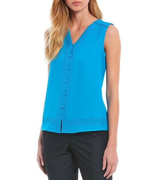 カルバンクライン レディース シャツ トップス Petite Size Contrast Stitch Crepe de Chine V-Neck Sleeveless Button Front Top Cerulean/Navy