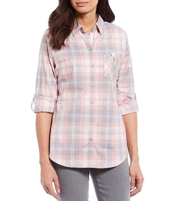 アリソン デイリー レディース シャツ トップス Petite Size Plaid Print Stretch Cotton Blend Roll-Tab Sleeve Button Down Shirt Pink Grey Plaid