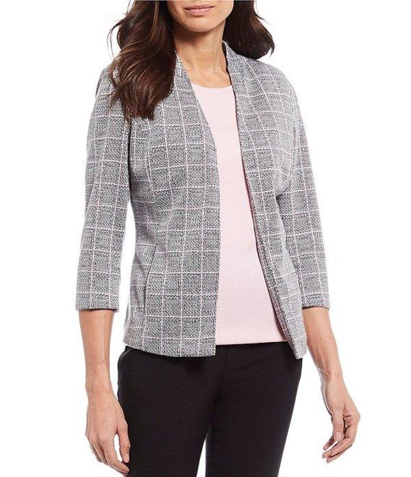 アリソン デイリー レディース ジャケット・ブルゾン アウター Petite Size Plaid Ponte Knit 3/4 Sleeve Open Front Jacket Grey Pink Plaid