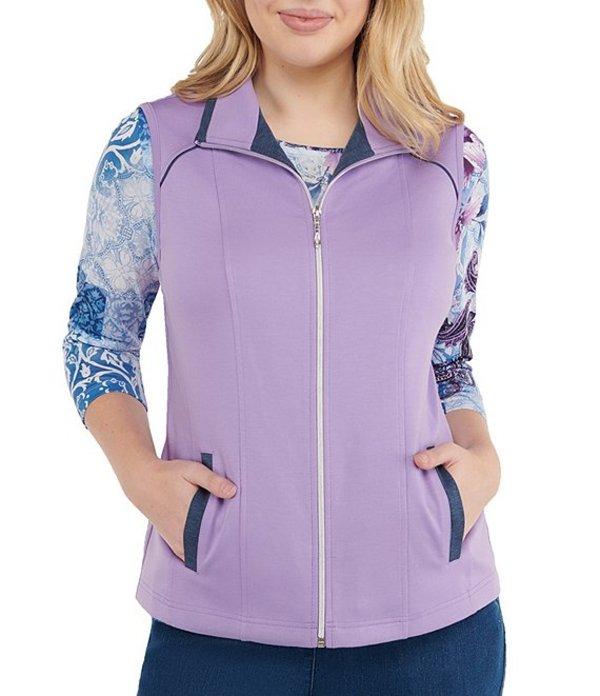 アリソン デイリー レディース ベスト アウター Petite Size San Remo Knit Contrast Trim Zip-Front Vest Lilac