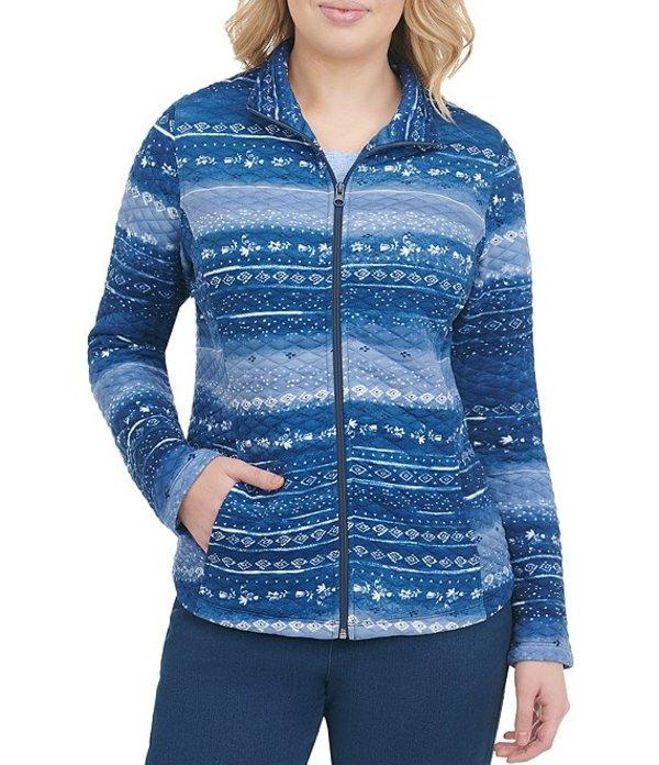 アリソン デイリー レディース ジャケット・ブルゾン アウター Petite Size Geo Multi Stripe Quilted Ponte Knit Zip Front Jacket Denim Multi Twist