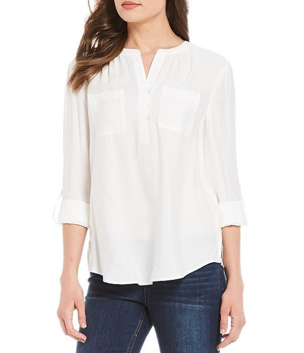 ウエストバウンド レディース シャツ トップス Roll-Tab Sleeve Two Pocket Popover Shirt Cream