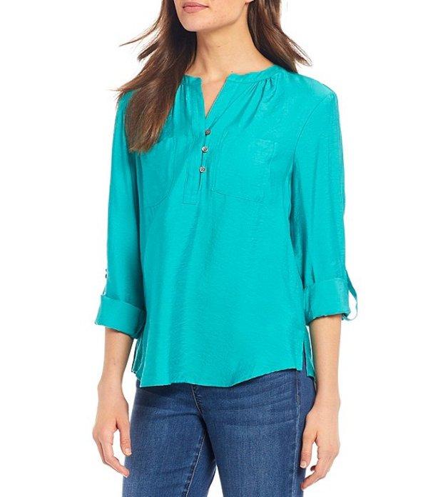 ウエストバウンド レディース シャツ トップス Roll-Tab Sleeve Two Pocket Popover Shirt Navigate