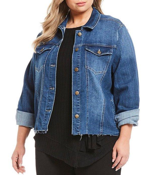 ウエストバウンド レディース ジャケット・ブルゾン アウター Plus Size Denim Frayed Hem Jacket Medium Blue Indigo