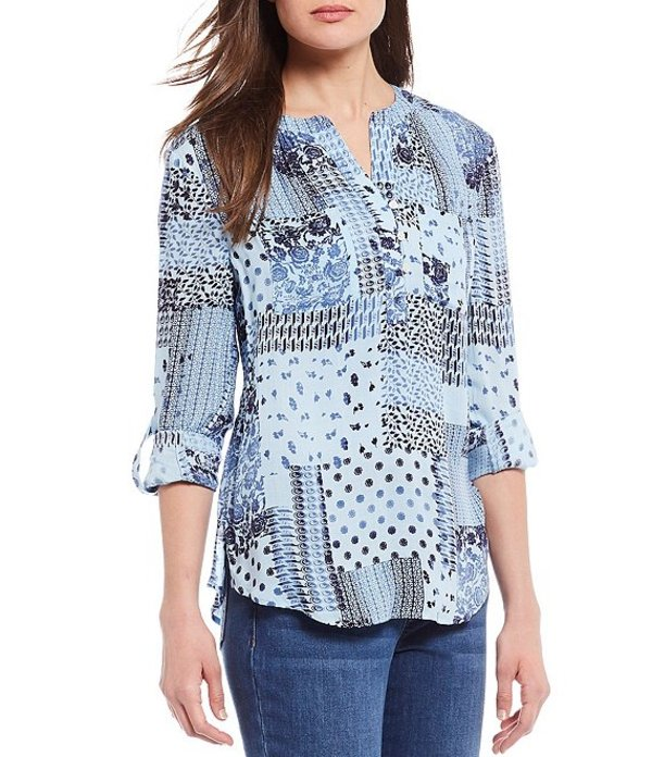 ウエストバウンド レディース シャツ トップス Petite Size Patchwork Muse Print Roll Tab Sleeve Two Pocket Popover Shirt Patchwork Muse