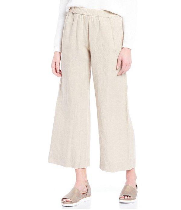 エイリーンフィッシャー レディース カジュアルパンツ ボトムス Organic Linen Pull-On Wide Leg Ankle Pant Undyed Natural