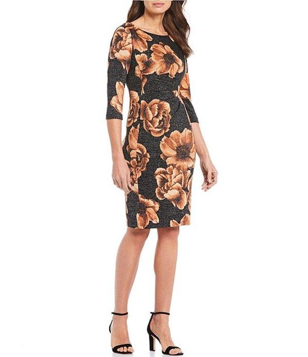 タハリエーエスエル レディース ワンピース トップス Metallic Knit Floral Print Sheath Dress Black/Gold Floral