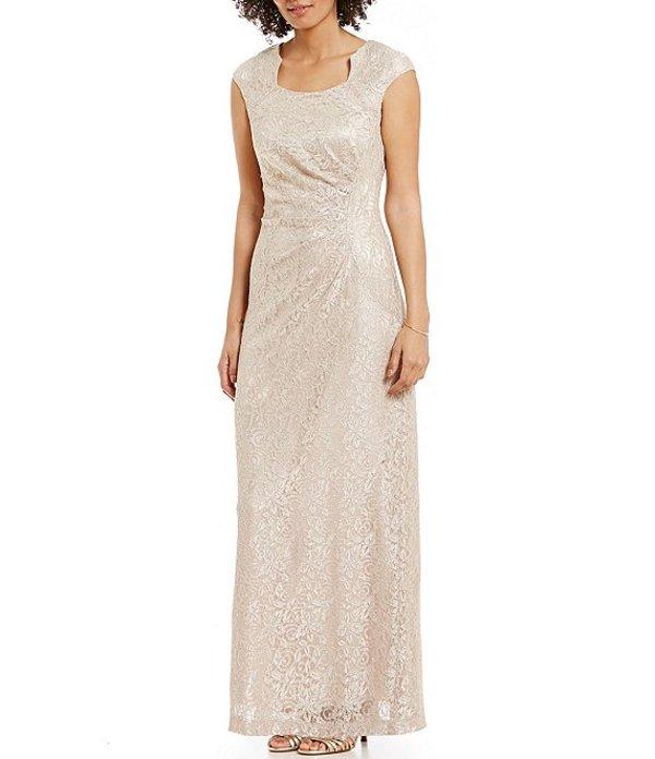 タハリエーエスエル レディース ワンピース トップス Shimmer Stretch Lace Column Gown Champagne