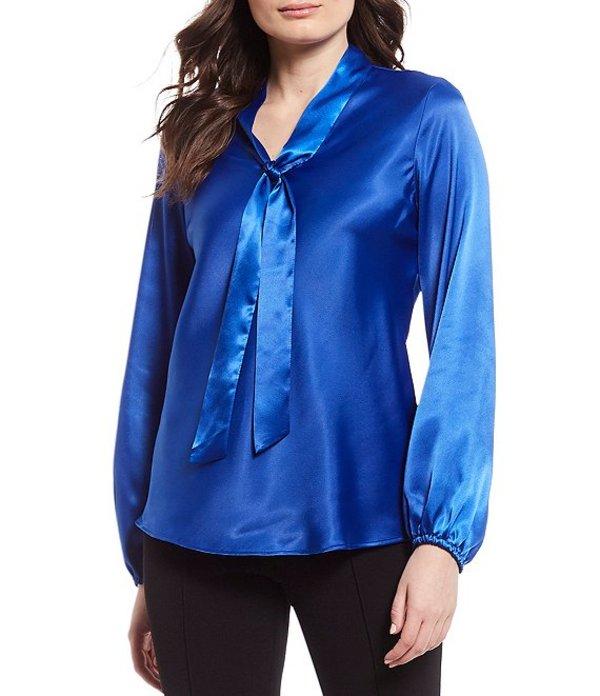 カスパール レディース シャツ トップス Petite Size Pebble Charmeuse Long Sleeve Tie Front Blouse Sapphire