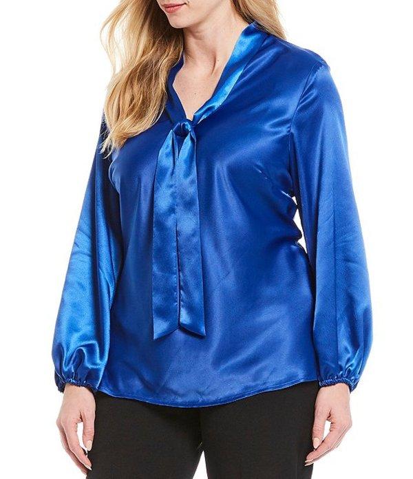 カスパール レディース シャツ トップス Plus Size Pebble Charmeuse Long Sleeve Tie Front Blouse Sapphire