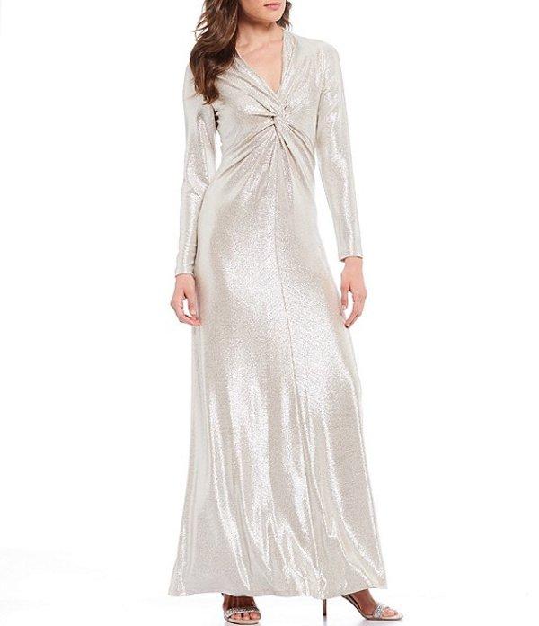 タハリエーエスエル レディース ワンピース トップス Knit Jersey Foil Twisted Front Gown Silver Powder