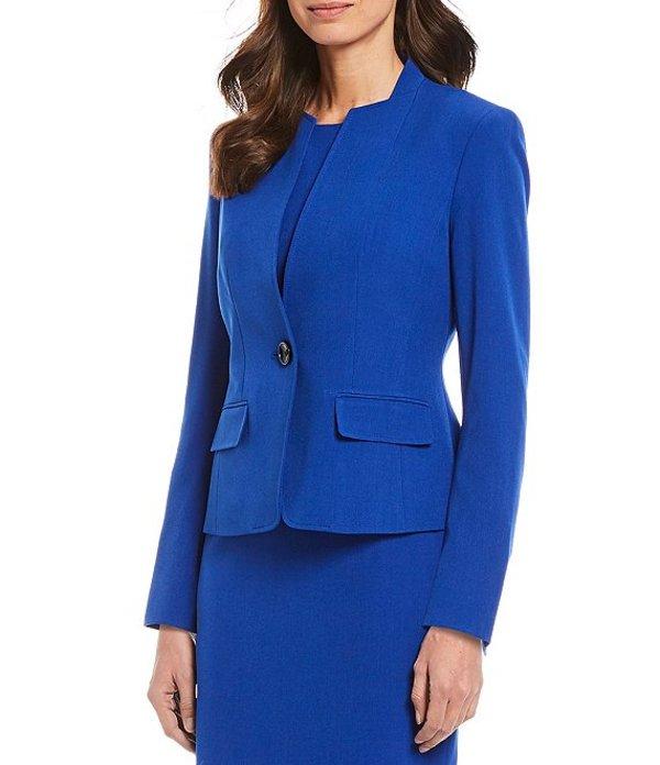 カスパール レディース ジャケット・ブルゾン アウター Petite Size Stand Collar One Button Front Jacket Sapphire