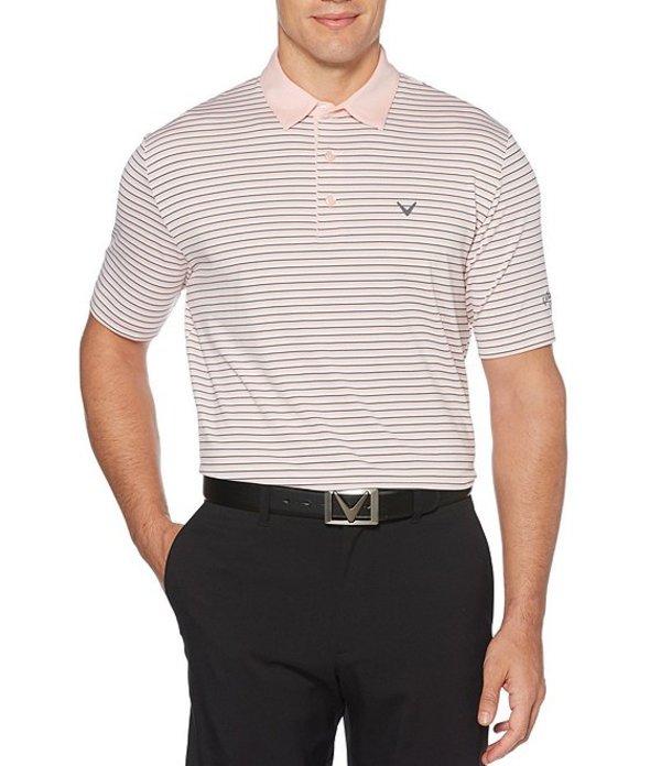 キャラウェイ メンズ シャツ トップス Short-Sleeve Cooling Tonal 3-Striped Polo Powder Pink