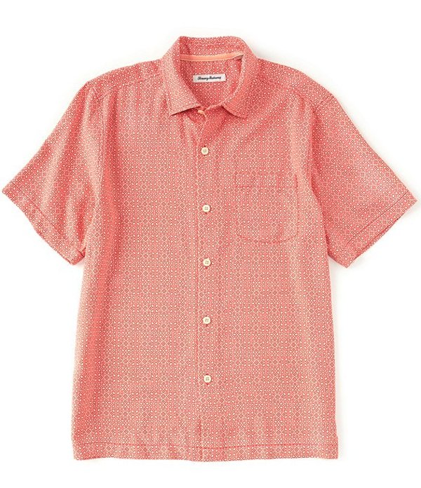 トッミーバハマ メンズ シャツ トップス Traveling Geo Silk Short-Sleeve Woven Shirt Malibu Peach
