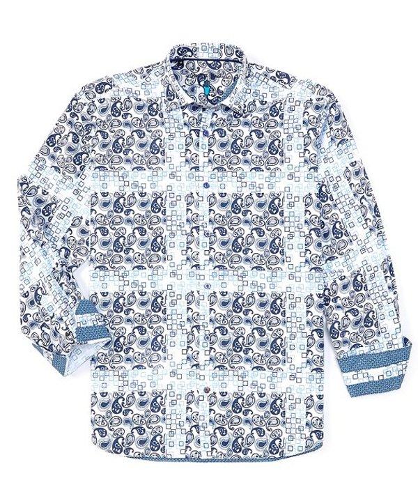 ビスコッティ メンズ シャツ トップス Big & Tall Paisley Long-Sleeve Woven Shirt Blue