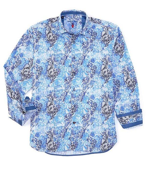 ビスコッティ メンズ シャツ トップス Big & Tall Medium Paisley Print Long-Sleeve Woven Shirt Blue