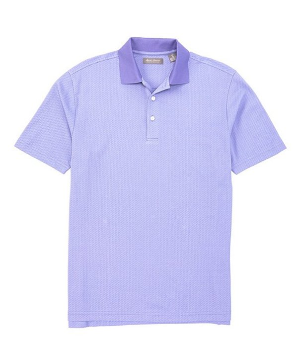 ダニエル クレミュ メンズ シャツ トップス Daniel Cremieux Signature Jacquard Pattern Short-Sleeve Polo Shirt Iris