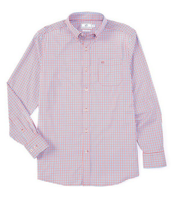 サウザーンタイド メンズ シャツ トップス Intercoastal Leeway Gingham Long-Sleeve Woven Shirt Mango