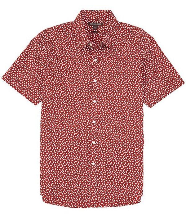 マイケルコース メンズ シャツ トップス Slim-Fit Tic Tac Print Stretch Short-Sleeve Woven Shirt Field Red