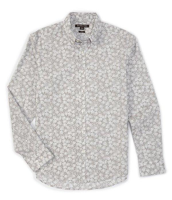 マイケルコース メンズ シャツ トップス Slim-Fit Splatter Floral Print Stretch Long-Sleeve Woven Shirt Alloy