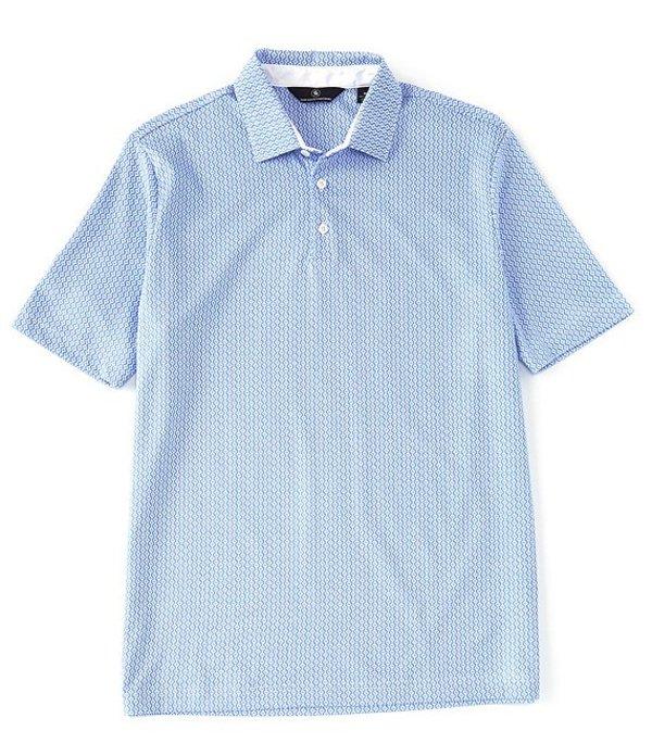 ハート シャフナー マルクス メンズ シャツ トップス Short Sleeve Honeycomb Self Collar Polo Light Blue