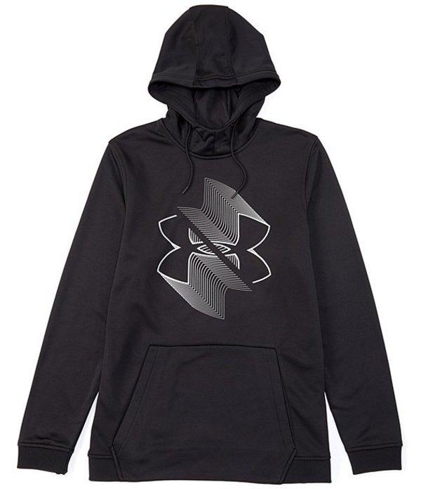 アンダーアーマー メンズ パーカー・スウェット アウター Armour FleeceR Blur Logo Pull-Over Hoodie Black