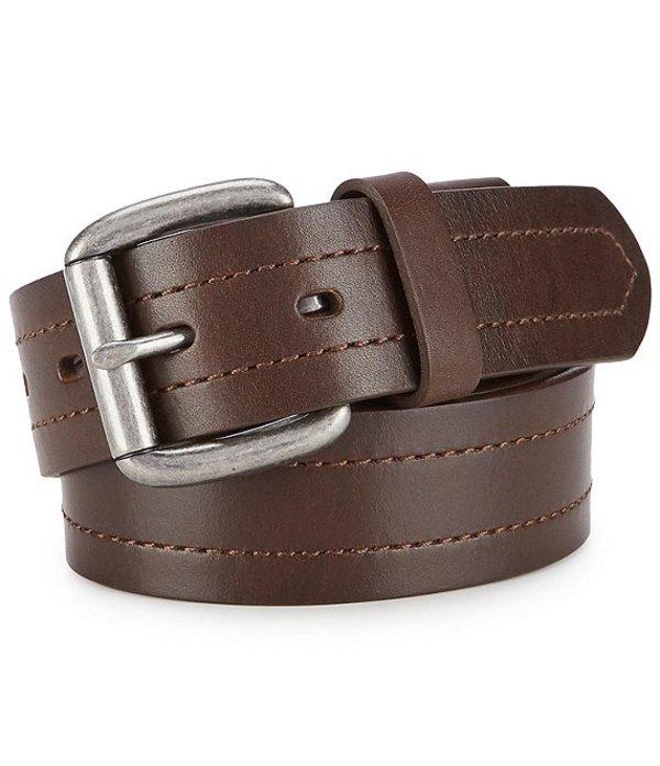 ボーン メンズ カジュアルパンツ ボトムス Men's Tumbled Texture Leather Belt Brown