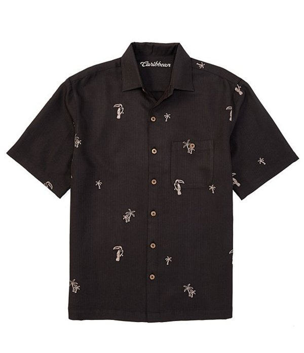 カリビアン メンズ シャツ トップス All Over Embroidery Short-Sleeve Woven Shirt Black