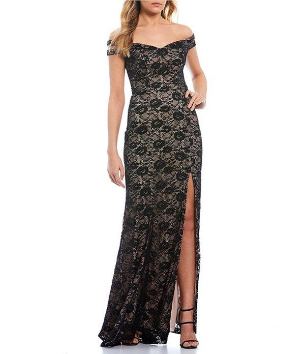 ティーズミー レディース ワンピース トップス Off-the-Shoulder Two-Toned Lace Long Dress Black/Nude