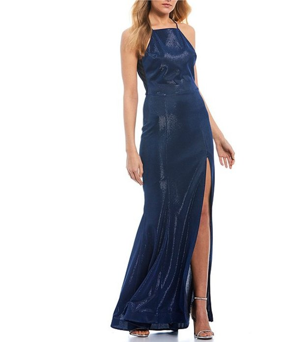 ティーズミー レディース ワンピース トップス Spaghetti Strap High-Neck Iridescent Shine Long Dress Royal/Navy