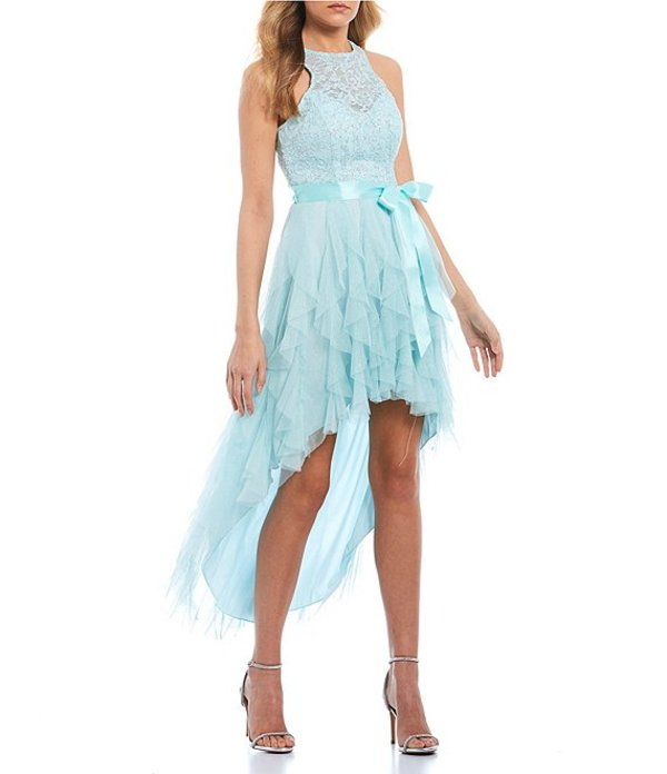 ティーズミー レディース ハーフパンツ・ショーツ ボトムス Sleeveless Racer-Neck Lace Corkscrew High-Low Dress Frozen