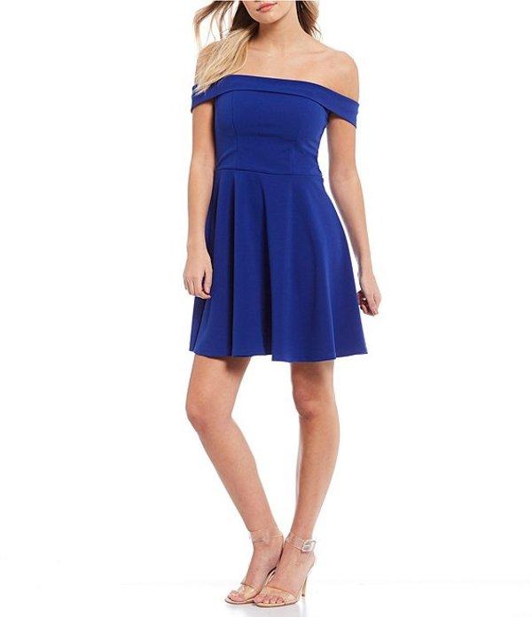 シークインハーツ レディース ワンピース トップス Off-the-Shoulder Scuba Crepe Fit-and-Flare Dress Royal Blue
