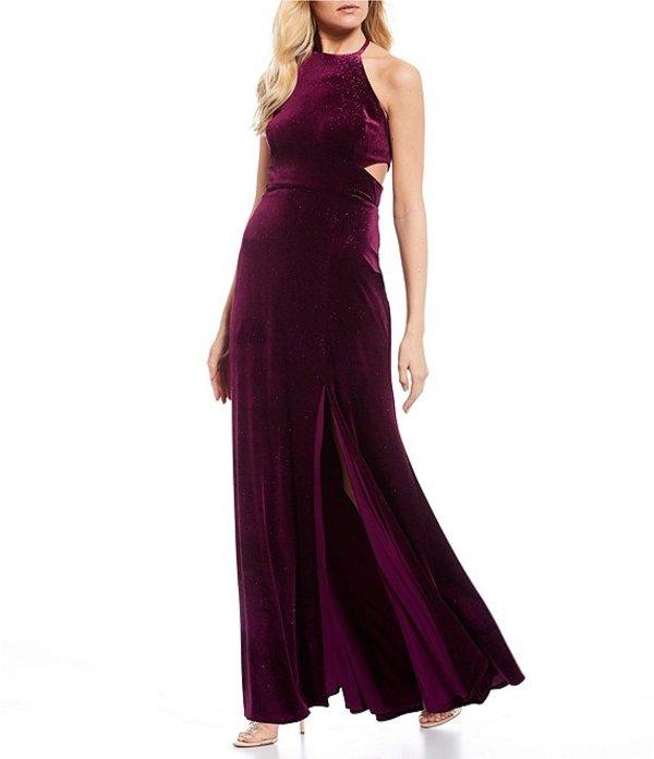 モルガン レディース ワンピース トップス High-Neck Glitter Velvet Cage-Back Long Dress Sangria