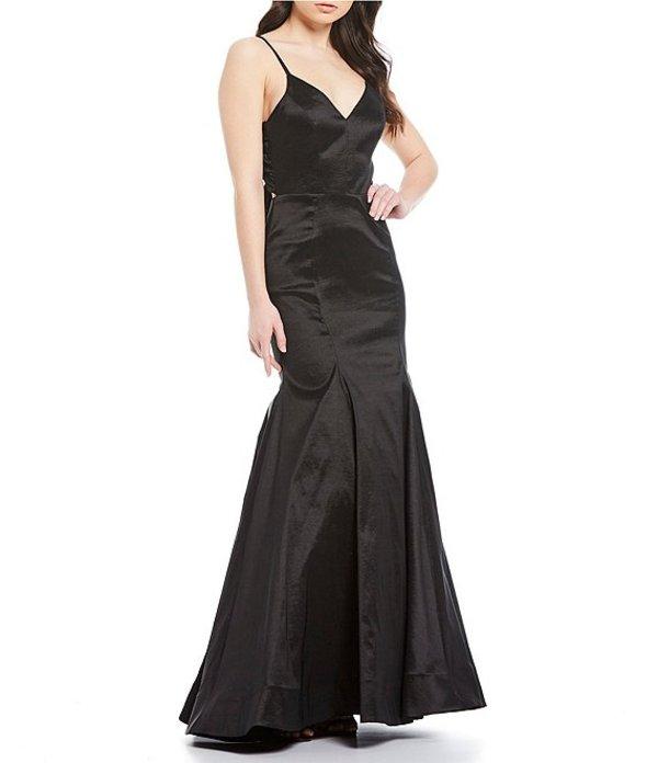 ビーダーリン レディース ワンピース トップス Spaghetti Strap V-Neck Taffeta Bow-Back Trumpet Dress Black