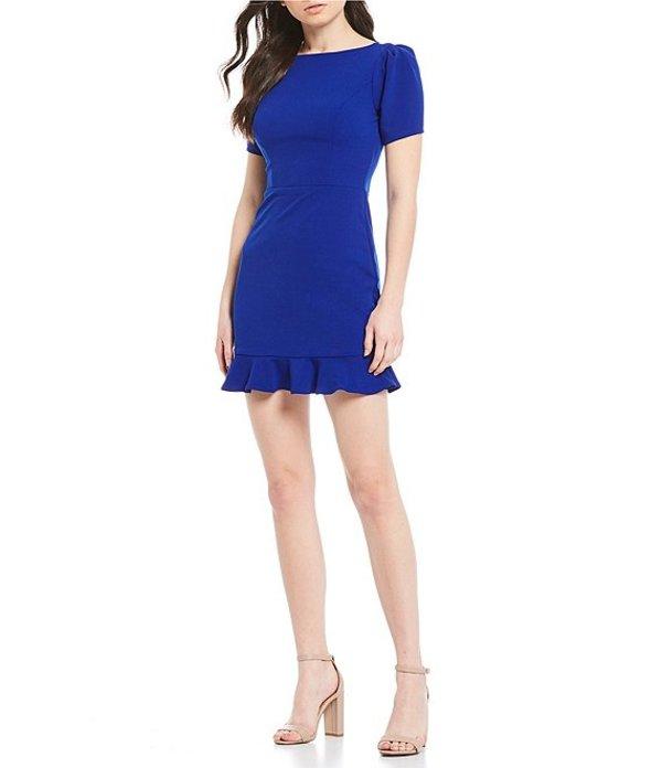 ビーダーリン レディース ワンピース トップス Puff Short Sleeve Flounce Hem Dress Electric Blue