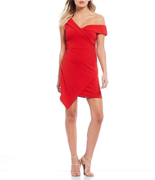 ビーダーリン レディース ワンピース トップス One Shoulder Asymmetric Hem Faux-Wrap Dress Burnt Red