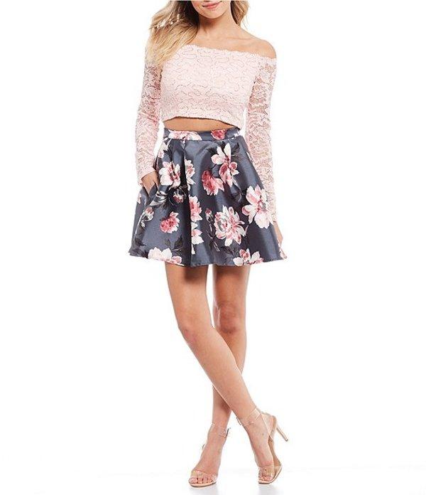 ビーダーリン レディース ワンピース トップス Off-The-Shoulder Lace Top with Floral Skirt Two-Piece Dress Charcoal/Dark Pink/Blush