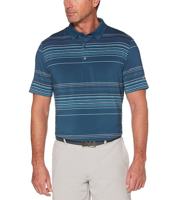 キャラウェイ メンズ シャツ トップス Golf Short-Sleeve Easy Care Roadmap Stripe Polo Deep Dive