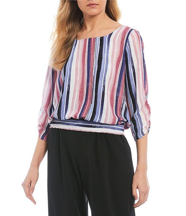 I.N.サンフランシスコ レディース シャツ トップス 3/4 Sleeve Striped Smocked Hem Top Multi Blush Stroke Stripe