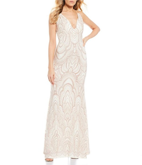 ジャンプ レディース ワンピース トップス Spaghetti Strap Glitter-Pattern Long Dress Ivory/Gold