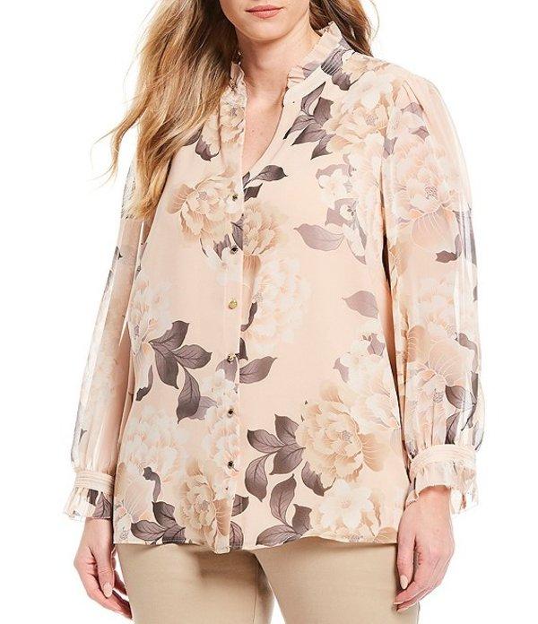 カルバンクライン レディース シャツ トップス Plus Size Floral Print Chiffon Ruffle Mandarin Neck Long Sleeve Blouse Blush Combo