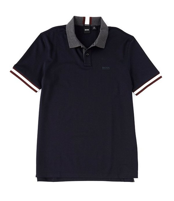 ヒューゴボス メンズ シャツ トップス BOSS Parlay Interlock Short-Sleeve Polo Shirt Dark Blue