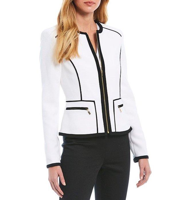 カルバンクライン レディース ジャケット・ブルゾン アウター Textured Pique Knit Suiting Contrast Pipe-Trim Zip-Front Jacket White/Black